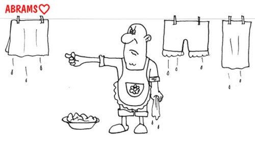 Анекдот про восставшего подкаблучника. Карикатура