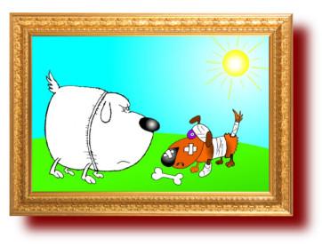 Карикатура про хозяина-пограничника и хозяина-десантника
