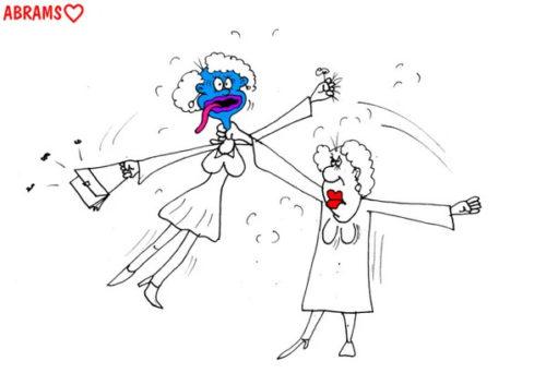 Анекдот: Если женщины на корпоративах дерутся. Карикатура