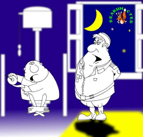 Анекдот про дембеля, генерала и дикий крик в ночи...Карикатура