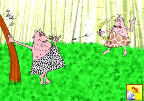 Анекдот про дикий рай. Карикатура