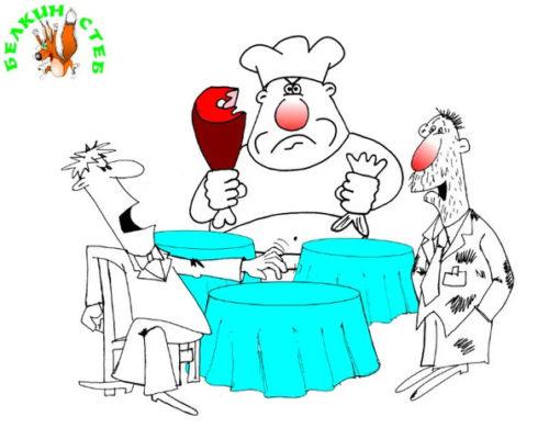 Анекдот про ресторан. Карикатура