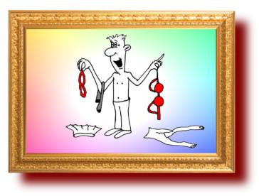 Сниматель дамского белья. Карикатуры