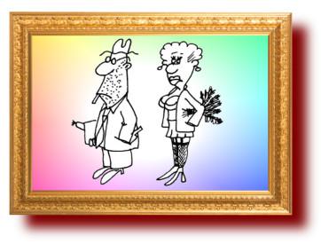Про баню и жену. Карикатуры