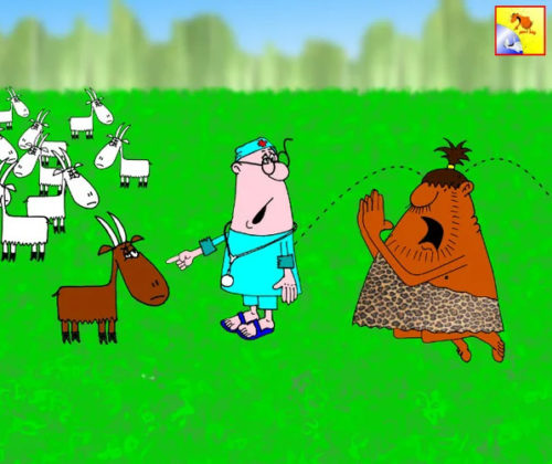 Прикольный анекдот про миссионера, козу и кАзла по-жизни. Карикатура