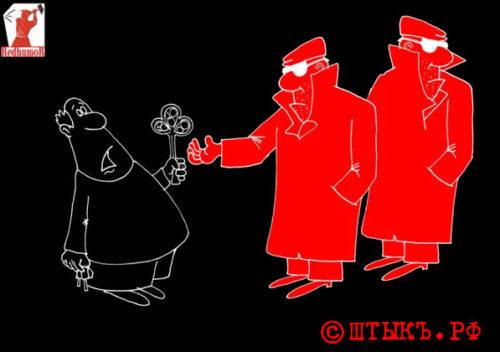 Анекдот-сатира: Товарищ, порулил сам, дай покататься народу! Карикатура