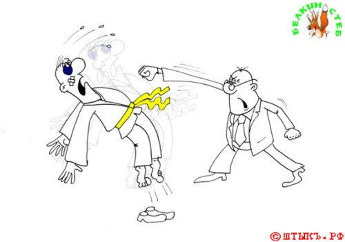 Анекдот о вреде спорта. Карикатура