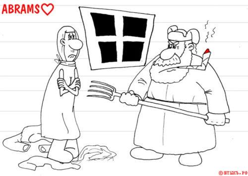 Анекдот про сурового деревенского конюха. Карикатура