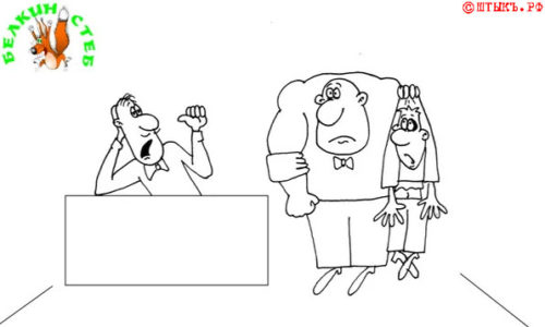 Анекдот про пьяных клиентов. Карикатура