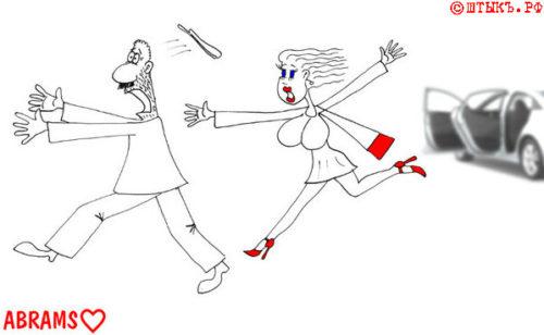 Анекдот про знакомства: Как бежит от блондиночки джигит. Карикатура