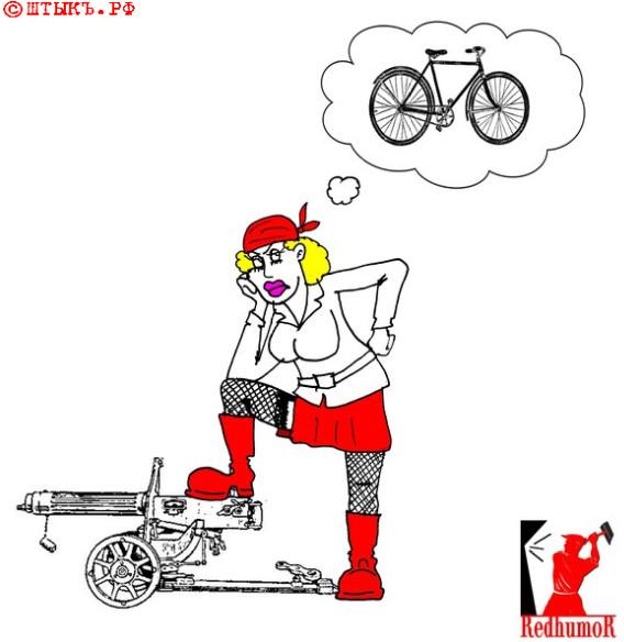 Анекдот про комсомолку. Карикатура