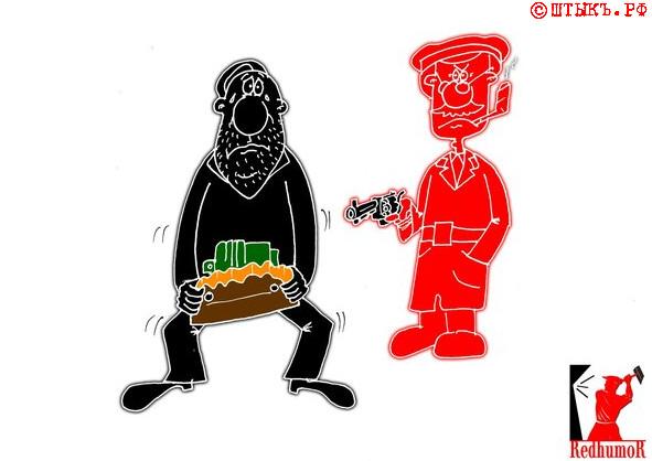 Советский анекдот про борьбу с проклятыми расхитителями . Карикатура