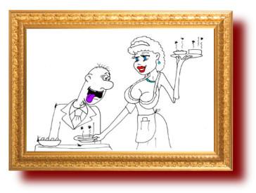 Анекдот про ресторан и официанток. Миниатюра