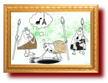 Карикатура и Анекдот про следы неизвестного животного