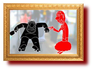 Карикатура. бабуля и балбес
