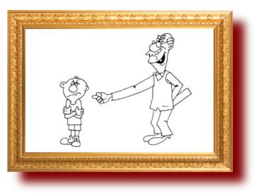 Карикатура про дедушку и внука.