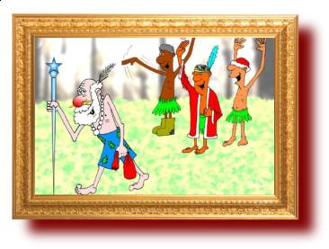 Новогодний анекдот. Карикатура к анекдоту про дикарей