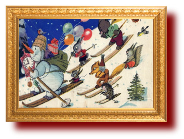 Поздравительные советские открытки. снеговик мини