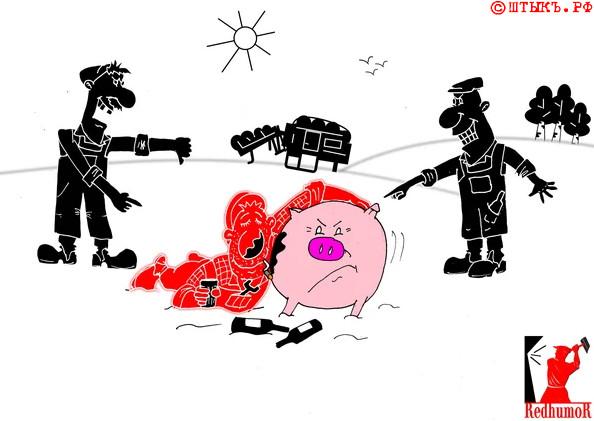 Советский анекдот в карикатурах про свиноферму . Карикатура