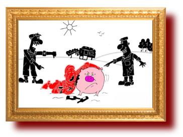 Советский анекдот в карикатурах про свиноферму . Миниатюра