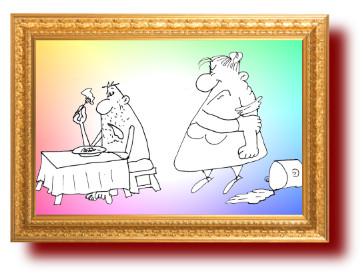 Карикатура Про жирную жену. Короткий анекдот