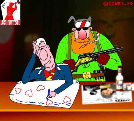 Анекдот про влюбленного Штирлица. Карикатура