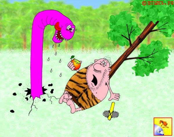 Прикольная карикатура на чудище и дикаря в лесу