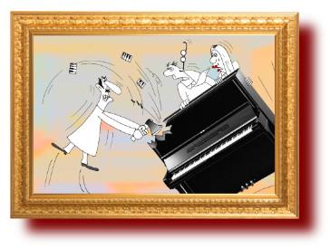 У Нины - пианино, но вдруг пришел пораньше муж. Юмор с картинками
